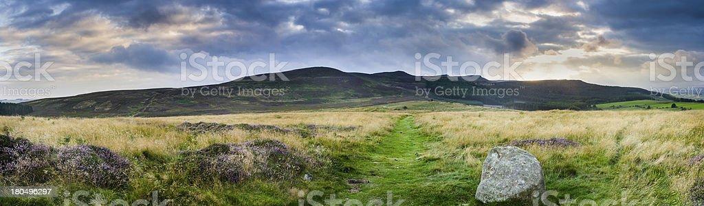 Simonside ridge panorama stock photo