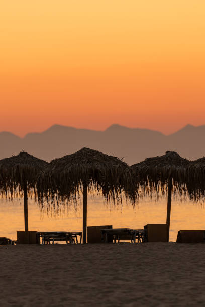 Simos beach at Elafonisos in Greece during a beautiful sunset. stock photo