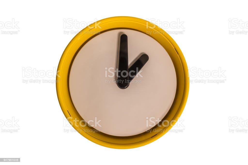 Relógio de alarme simples isolado no fundo branco - foto de acervo