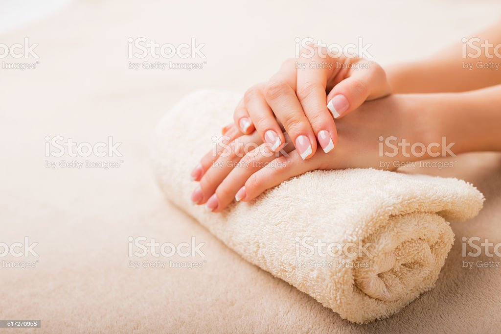 Simple and elegant french manicure stock photo