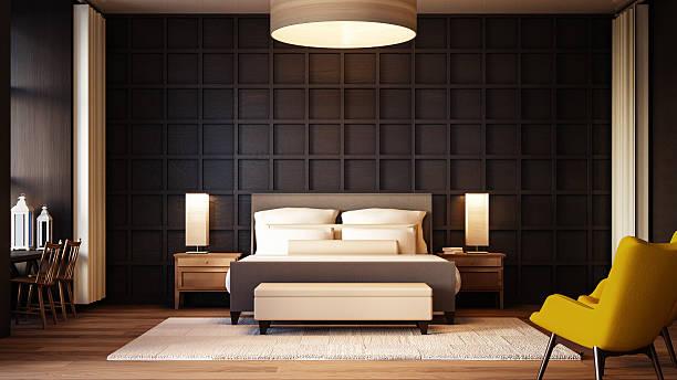 schlichte und luxuriöse schlafzimmer hotel - schick moderne schlafzimmer stock-fotos und bilder