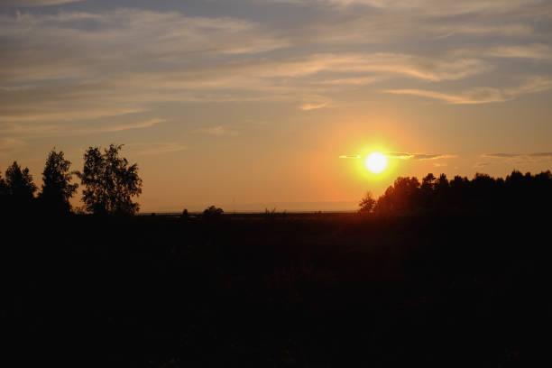 간단 하 고 단순한 풍경 선셋 오렌지 톤에서 스톡 사진