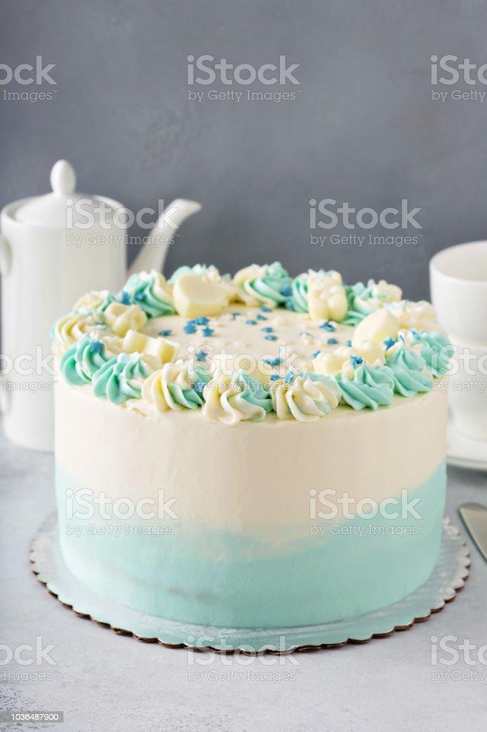 Gâteau de douche ou de baptême bébé simple - Photo