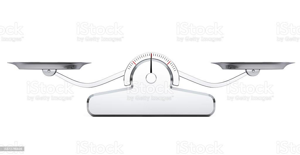 Sencillo equilibrio escala. Representación en 3D - foto de stock