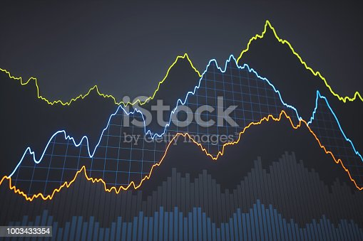 istock Simple bar and line chart on dark backgorund 1003433354