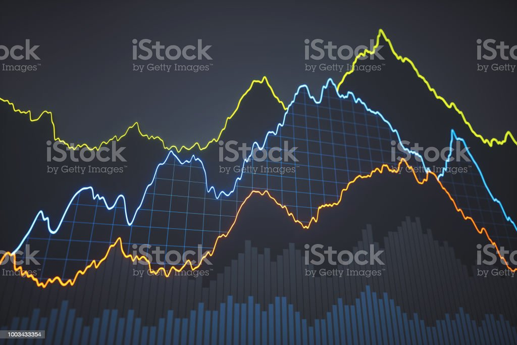 Simple bar and line chart on dark backgorund stock photo