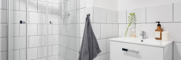 Simple bathroom with shower stock photo