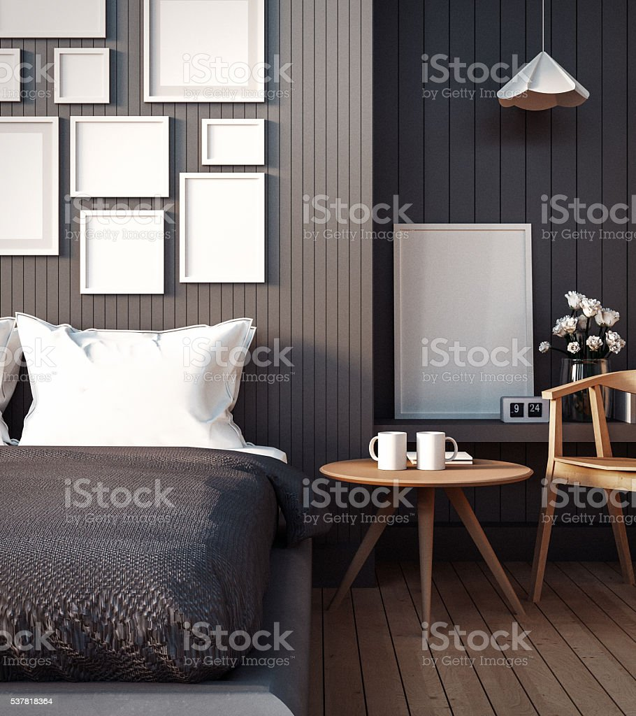 Simple Bedroom for Mock up Interior stock photo