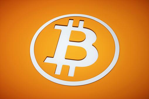 3D Bitcoin currency logo orange