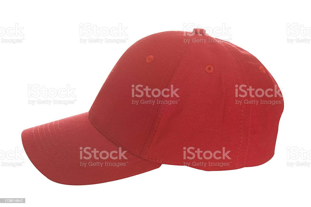 Simple blank red baseball cap over a white background stock photo