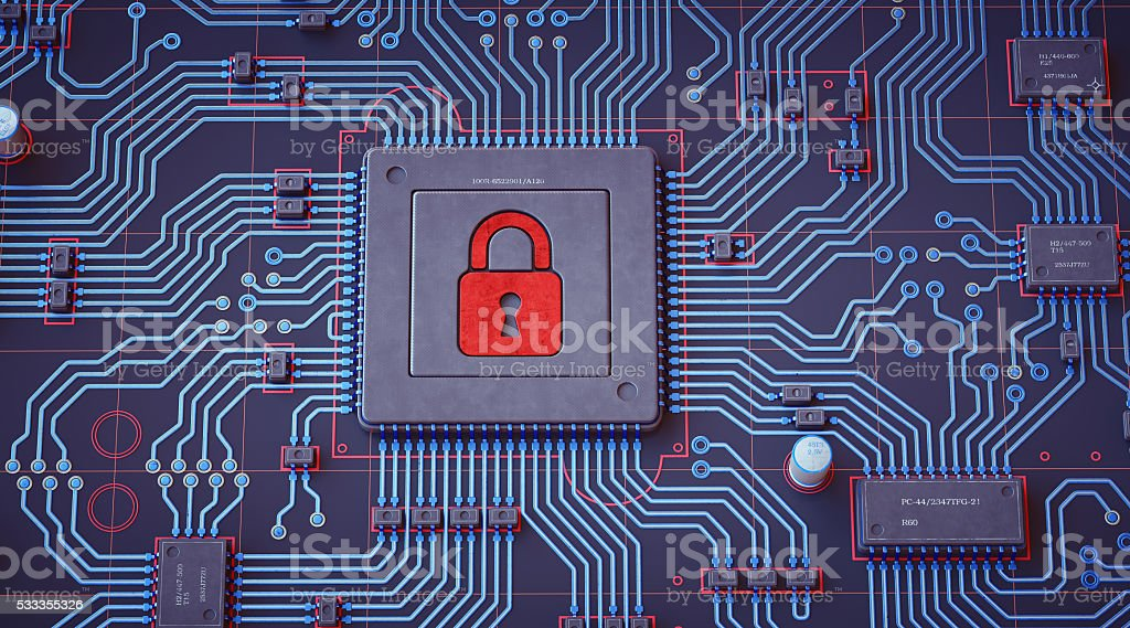 Simple Blue and Red Circuit With Security Lock stock photo