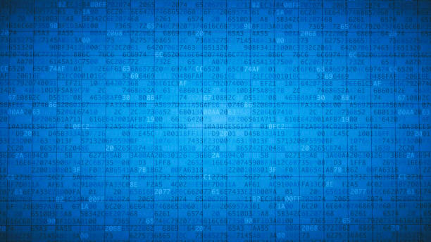 simple blue encrypted spreadsheet - bit binary stock pictures, royalty-free photos & images