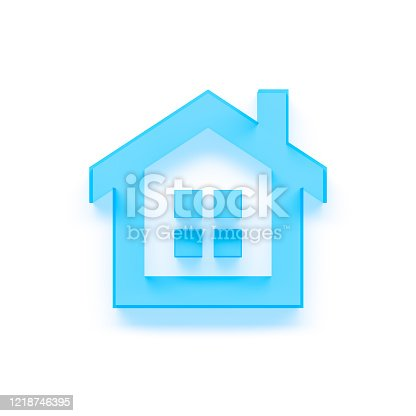 845555910 istock photo simple blue house - icon - 3d rendering 1218746395