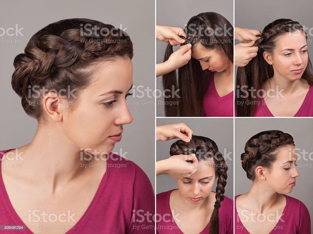 Stupendous Simple Braid Hairstyle Tutorial Stock Photo Download Image Now Schematic Wiring Diagrams Phreekkolirunnerswayorg