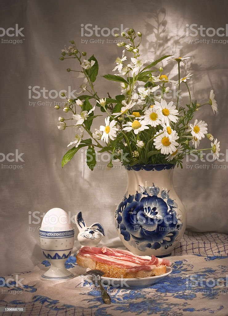 simple breakfast (3)  with daisies royalty-free stock photo