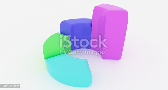 171361168 istock photo Simple Business Circle Chart With Four Rising Sections 932129122