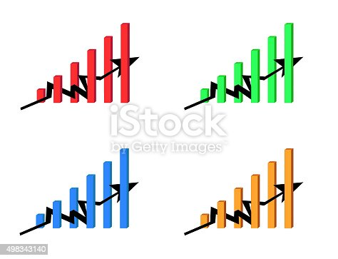 635932844 istock photo simple business rising graphic. four colors. 498343140