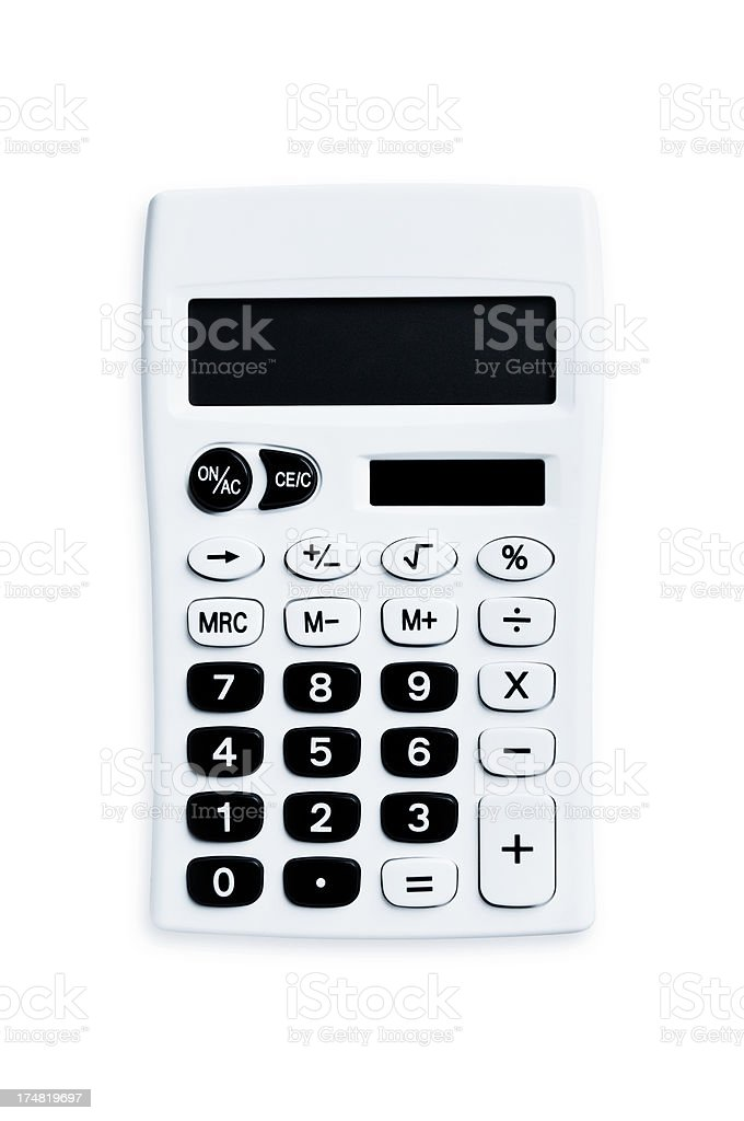 Simple calculator with solar and black buttons isolated on white royalty-free stock photo