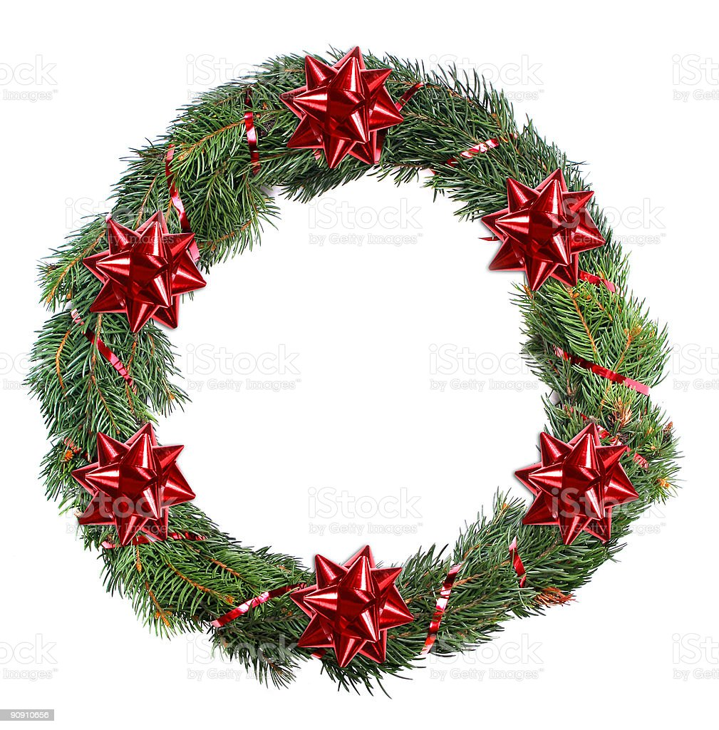 Simple Christmas wreath isolated on white background royalty-free stock photo