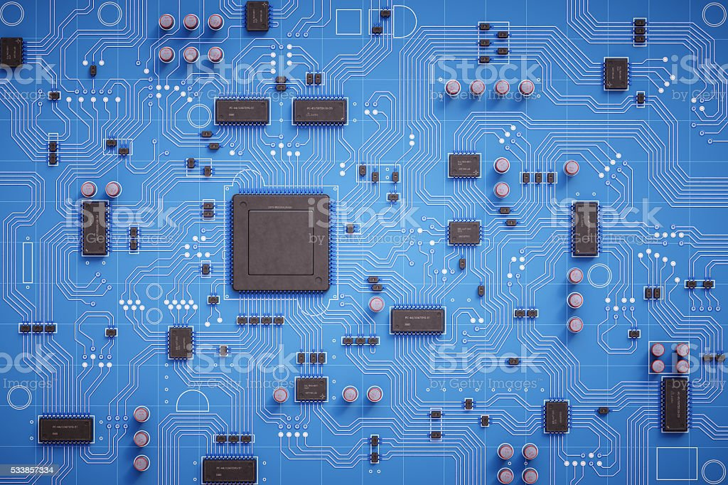 Simple Circuit Board Top View stock photo