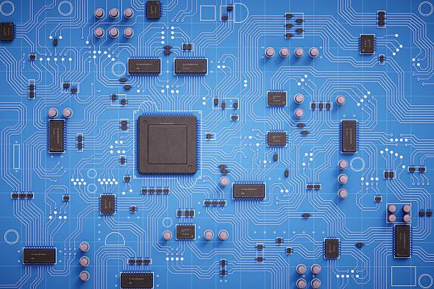 semplice scheda a circuito vista dall'alto - scheda a circuito foto e immagini stock