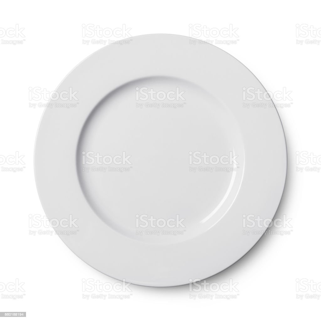 Simple circular porcelain plate isolated on whit stock photo