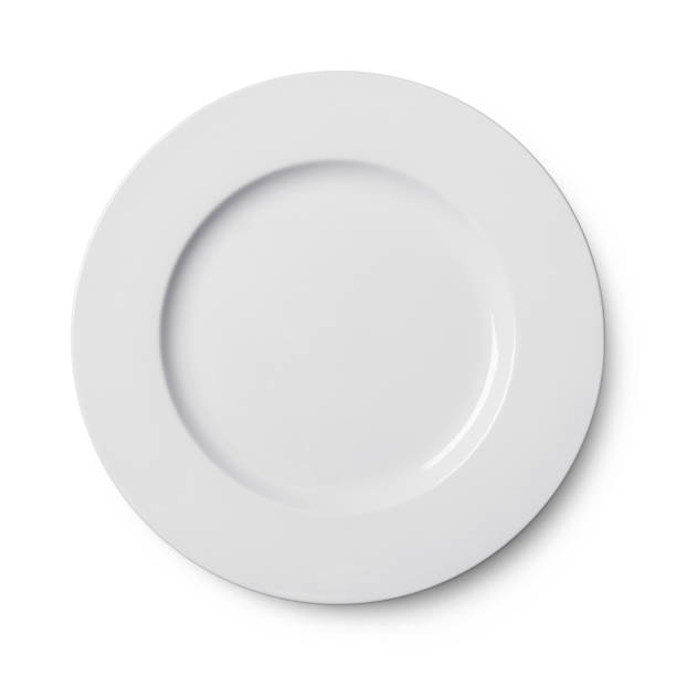 simple circular porcelain plate isolated on whit - plate stock pictures, royalty-free photos & images