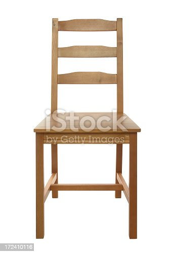 Simple, classical wooden chair isolated on white background, studio shot.