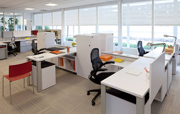 simple contemporary office scene. one of a series. - office cubicle stock pictures, royalty-free photos & images