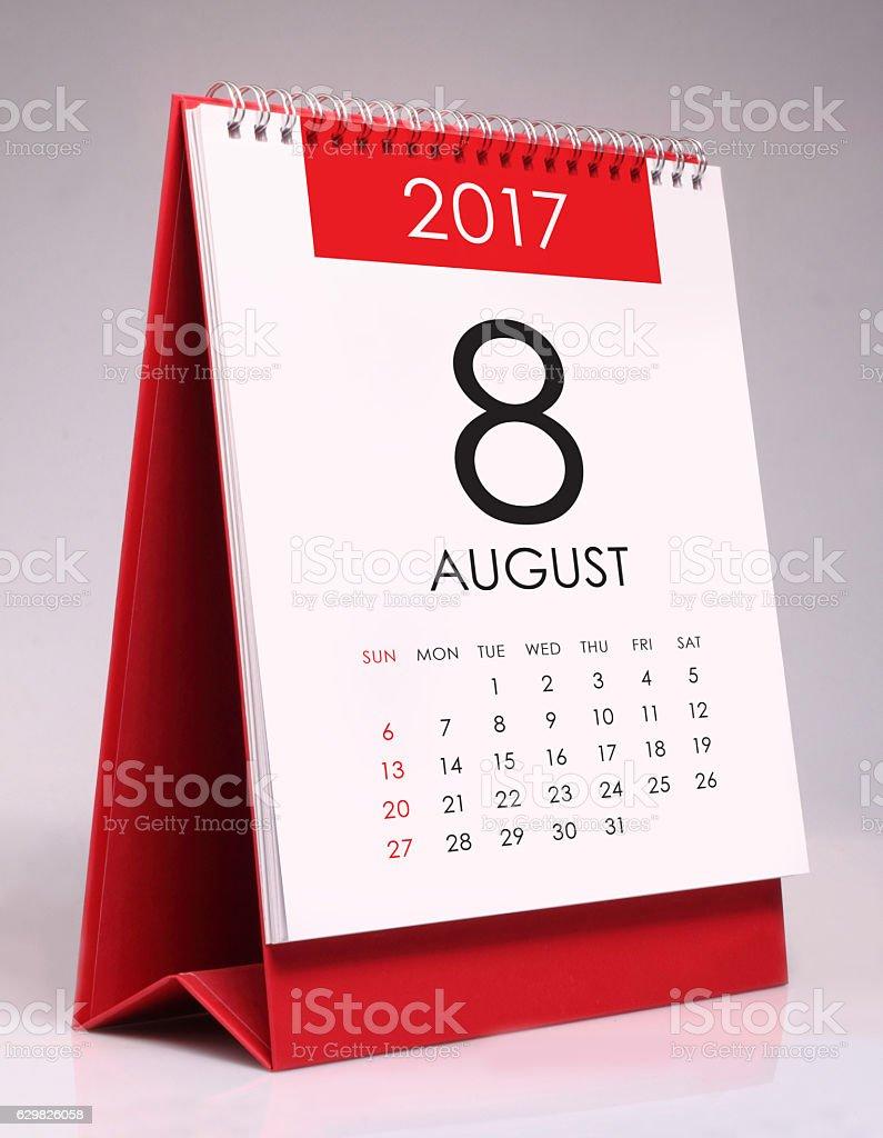 Simple desk calendar 2017 - August stock photo