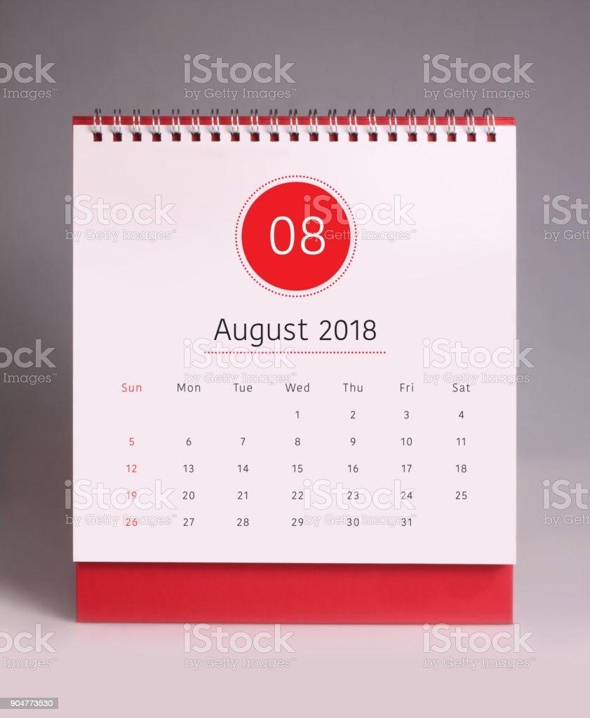 Simple desk calendar 2018 - August stock photo