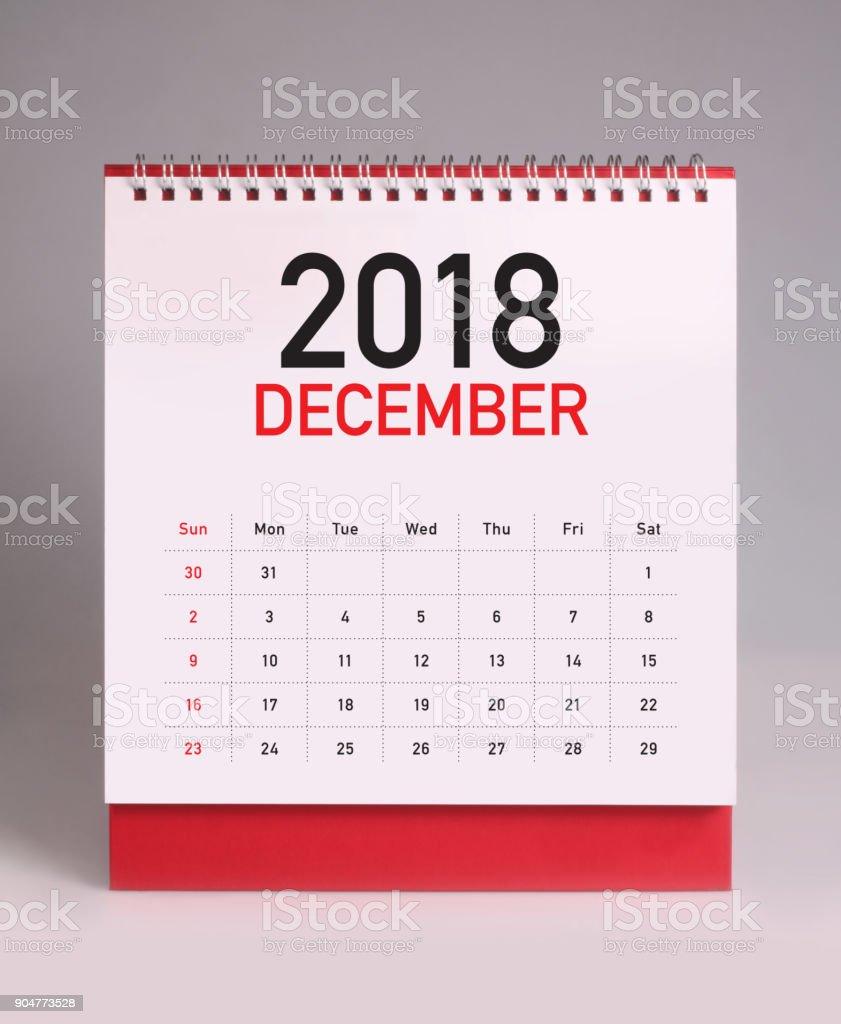 Simple desk calendar 2018 - December stock photo
