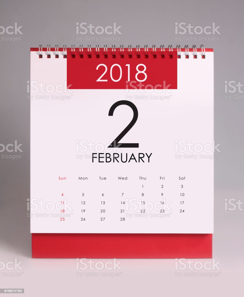 Simple desk calendar 2018 - February stock photo
