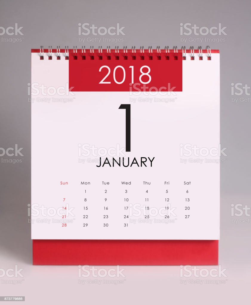 Simple desk calendar 2018 - January stock photo