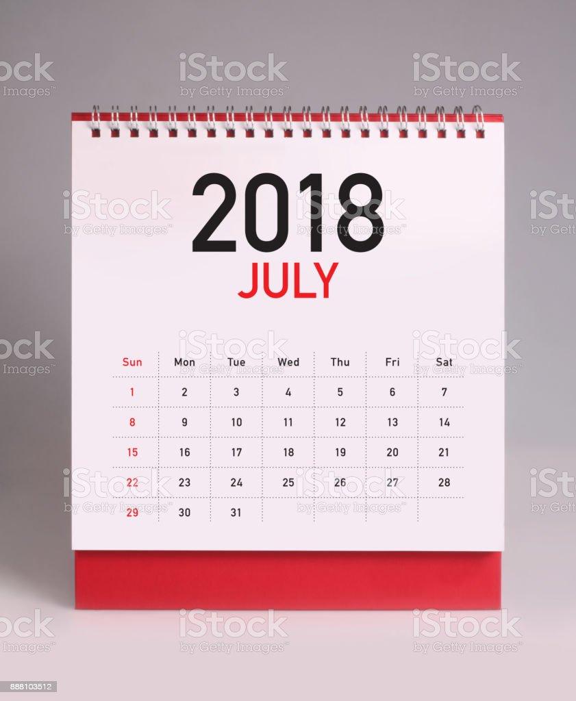 Simple desk calendar 2018 - July stock photo