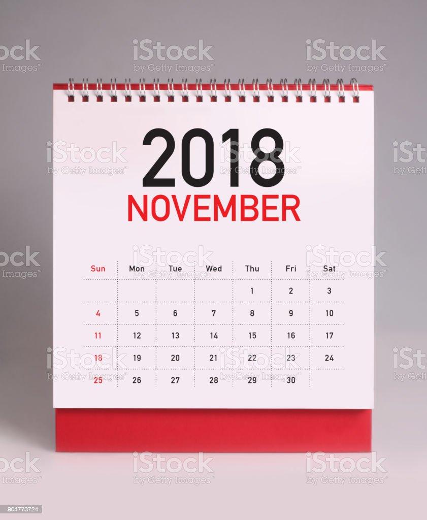 Simple desk calendar 2018 - November stock photo