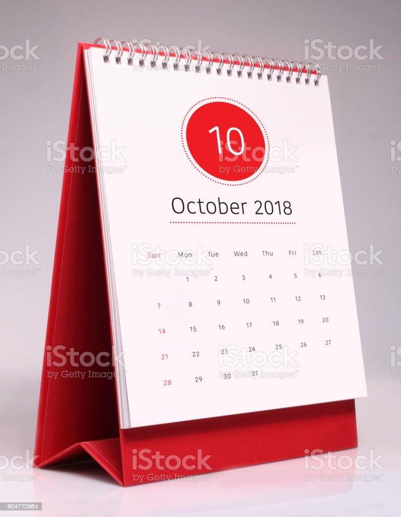 Simple desk calendar 2018 - October stock photo