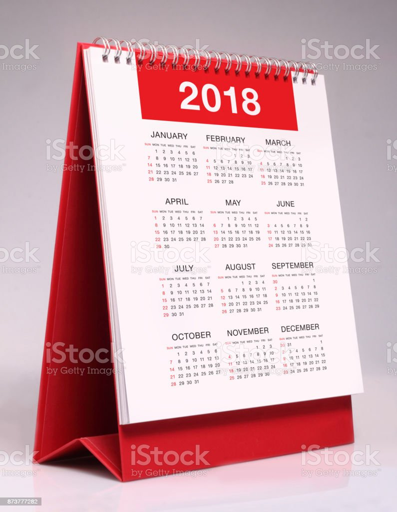 Simple desk calendar 2018 stock photo