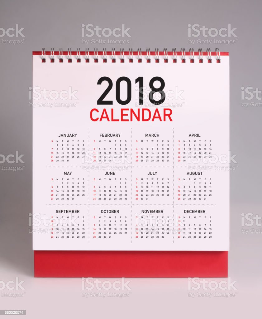 Simple desk calendar 2018 stock photo