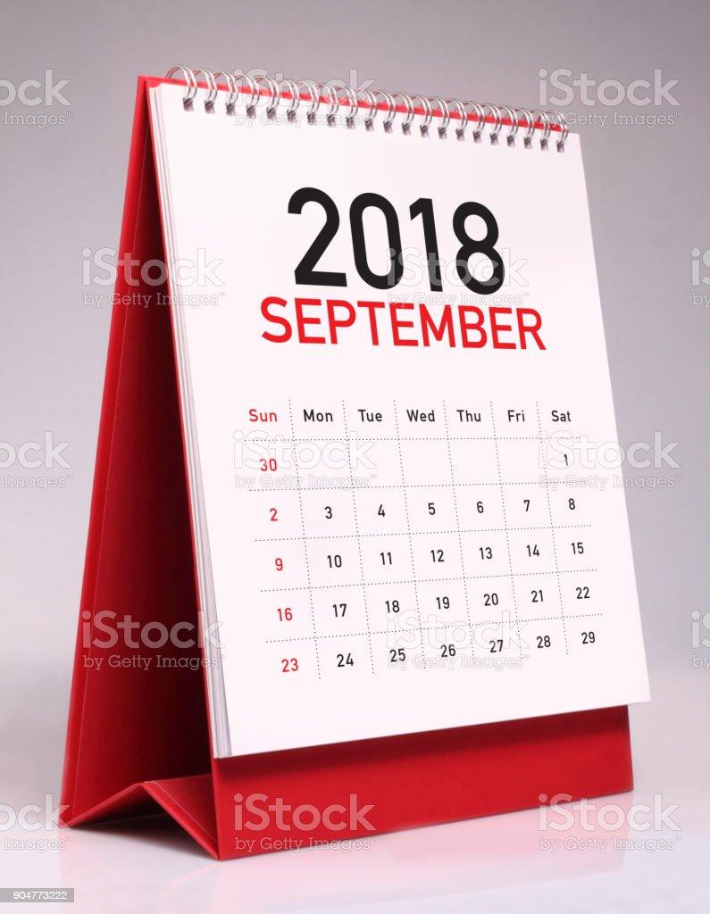 Simple desk calendar 2018 - September stock photo