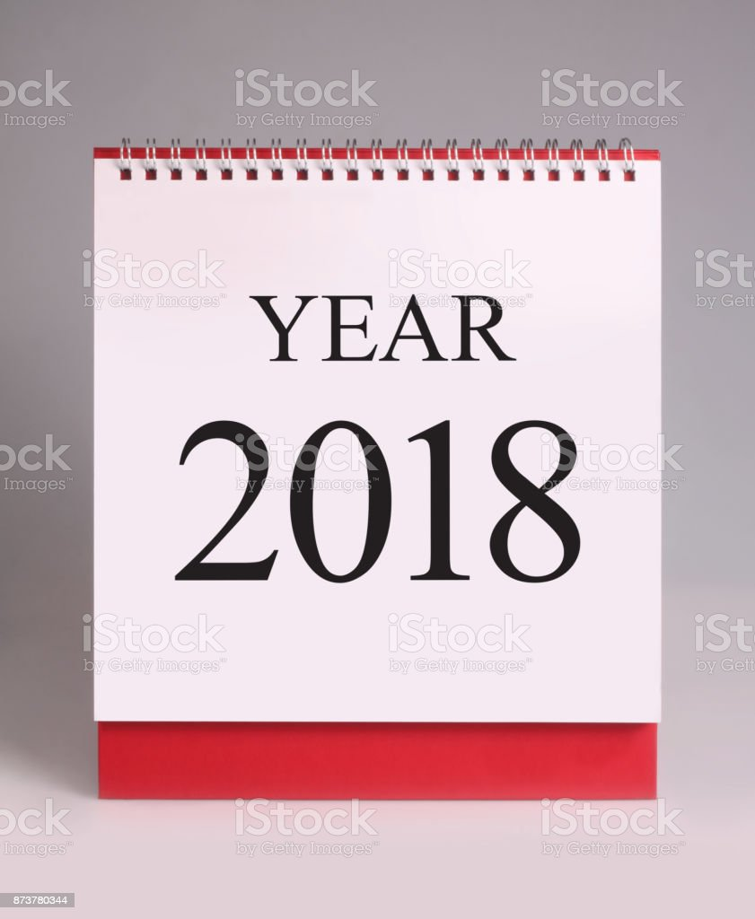 Simple desk calendar for 2018. stock photo