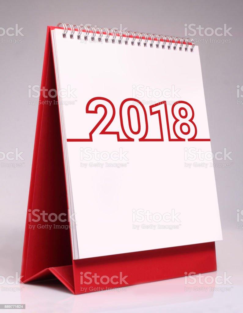 Simple desk calendar for 2018. stock photo