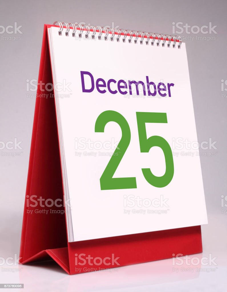 Simple desk calendar for Christmas. stock photo