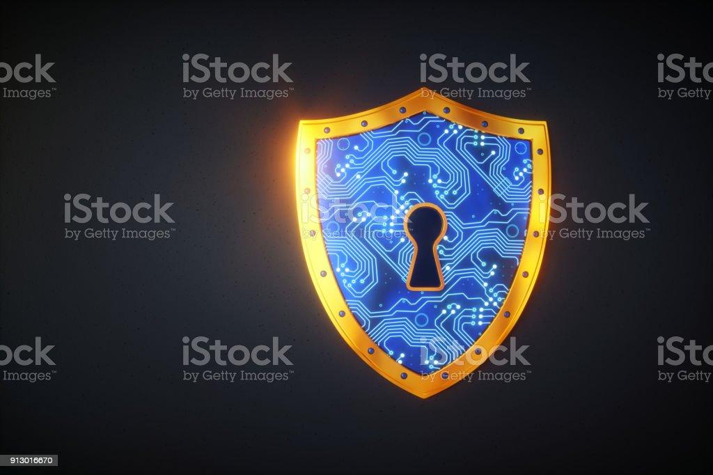 Simple digital shield stock photo