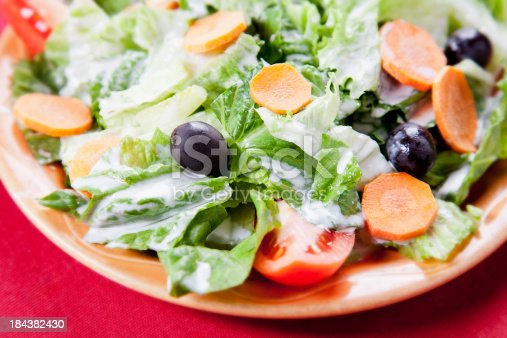 Simple dinner salad with ranch dressing. You might also be interested in these: