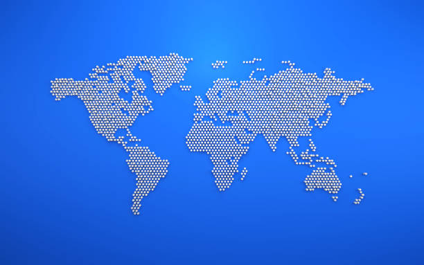 simple dot business map of the world, 3D background stock photo