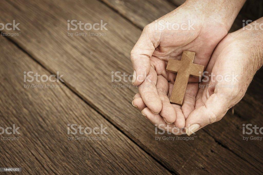 Simple Faith - Wooden Cross royalty-free stock photo