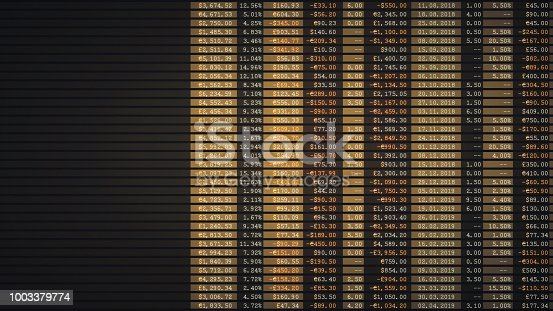 istock Simple financial report spreadsheet in brown color with copy space 1003379774