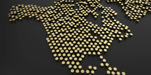 simple golden dot business map of the USA, 3D background stock photo