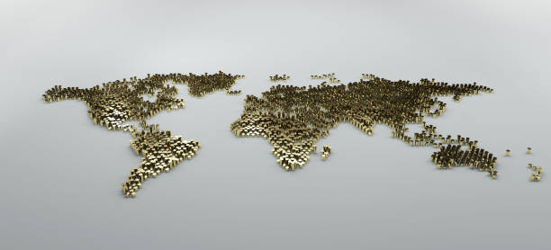 simple golden dot business map of the world, 3D background stock photo